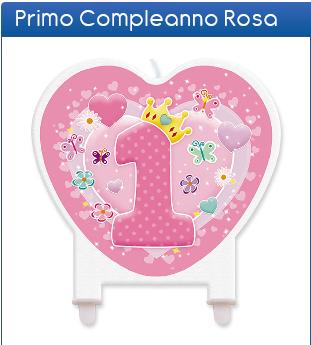Candela sagomata 1° compleanno rosa