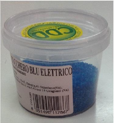 Cristalli di zucchero blu elettrico
