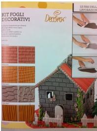 Kit 4 fogli decorativi effetto legno/muro