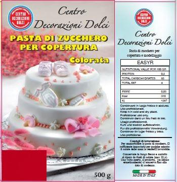 Pasta di zucchero 500 gr. rossa