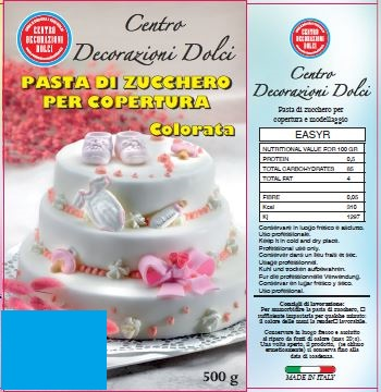 Pasta di zucchero 500 gr. azzurro