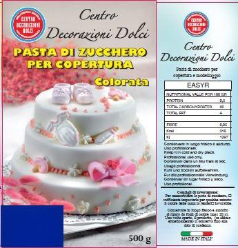 Pasta di zucchero 500 gr. blu