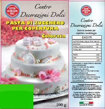 Pasta di zucchero 500 gr. verde chiaro